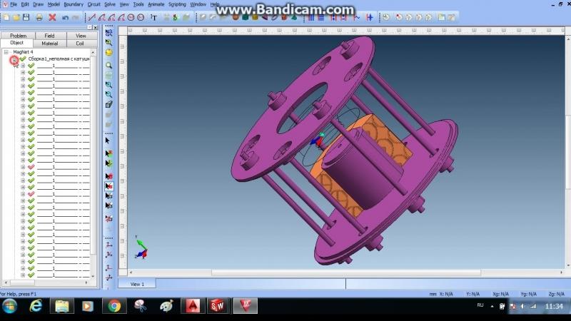 расчёт катушек в Infolitica Magnet 3D