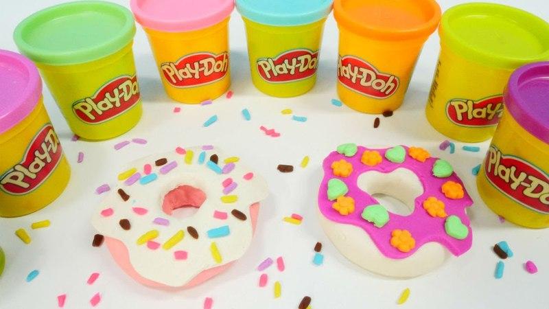 Play Doh oyun hamurundan donut yapalım. Eğlenceli video.