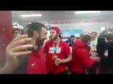 Раздевалка сборной России по хоккею после победы.