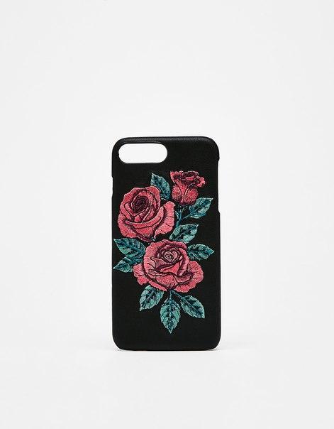 Чехол с вышитыми розами для iPhone 6plus/7plus/8plus