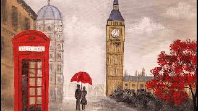 LONDON Landcape Impressionist Acrylic Painting Tutorial LIVE Valentines Angelooney Event