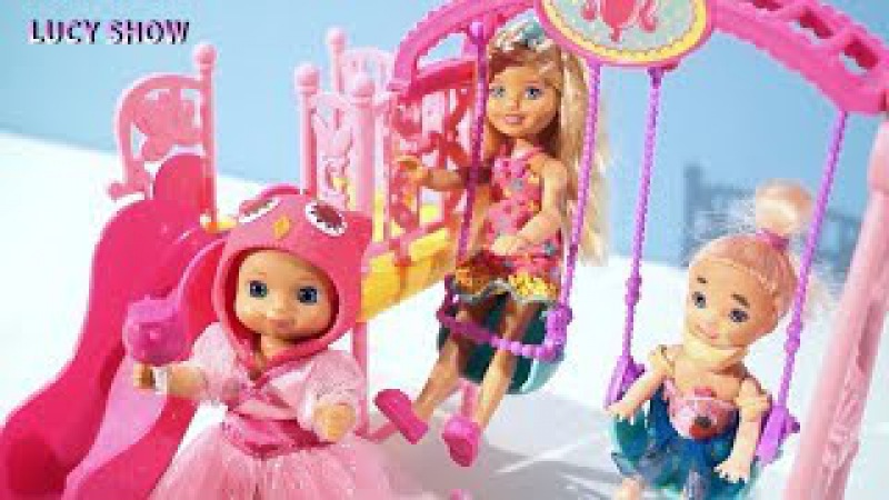 Мультик Барби Мама Люси в доме Челси дети на детской площадке видео куклы для де...
