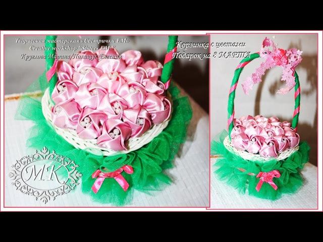 Мастер класс Корзинка с цветами Подарок к 8 марта A basket of flowers Gift for March 8