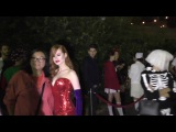 Madelaine Petsch dressed as Jessica Rabbit outside the Just Jared Halloween Party 2016