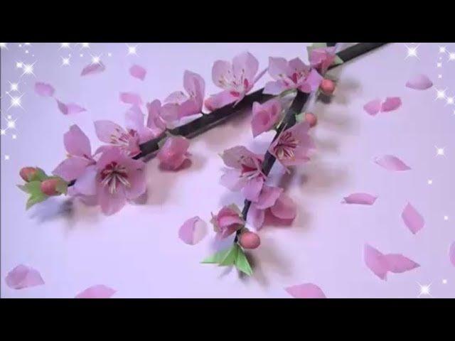 DIY ペーパーフラワー 桃の花の作り方  Paper Flower How to Make Peach Blossom
