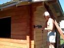 Шлифовка стен сруба бани из бруса