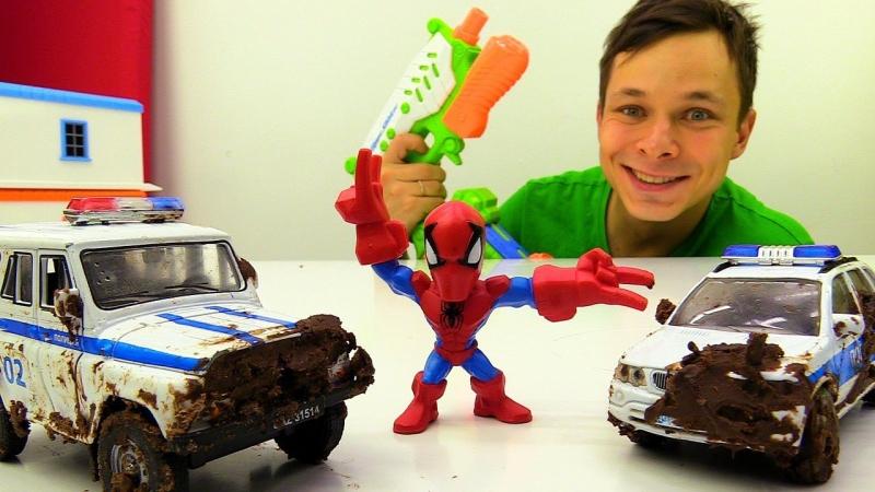 Видео игрушки Фёдор и ЧеловекПАУК отмывают Полицейские МАШИНКИ Игры для мальчиков