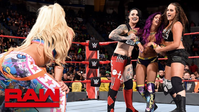 Video@rubyriottdaily The Riott Squad attack Bayley and Sasha Banks Raw April 16 2018