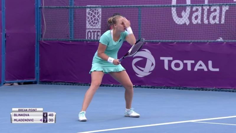 WTA Doha R2 2018 Blinkova vs Mladenovic