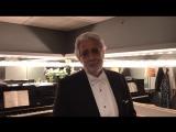 Пласидо Доминго приветствует Филармонический оркестр Боготы.