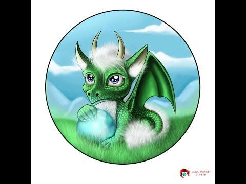 Speedpaint Little fluffy dragon