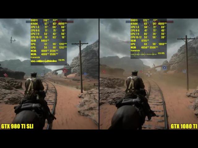 Сравнение частоты кадров - Battlefield 1 GTX 1080 TI Vs GTX 980 TI SLI 8700K 5GHz