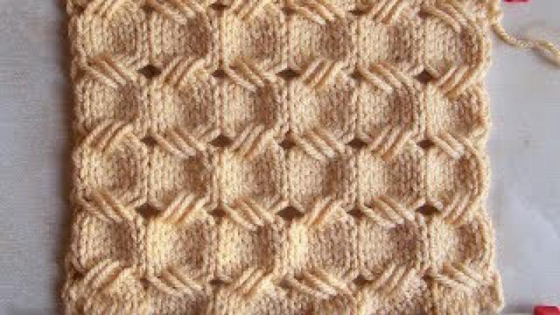 Ажурный узор из вытянутых петель Вязание спицами Видеоурок 257