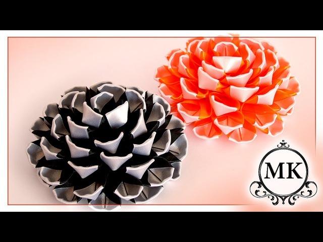 Красивые цветы из лент Канзаши МК DIY Beautiful ribbon flowers Kanzashi