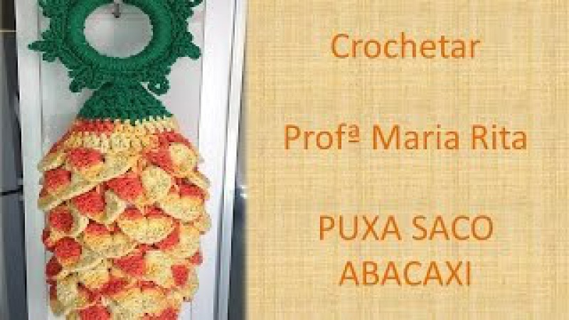 Puxa Saco crochê Abacaxi Pineapple- Professora Maria Rita