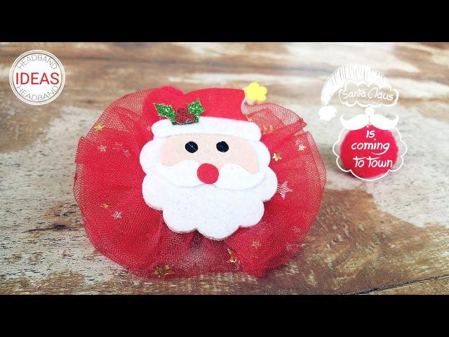Headband Ideas For Christmas : Bow With Santa Claus Doll Headband | DIY by Elysia Handmade