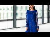 Синее кружевное платье Джун с длинными рукавами от PAULINE