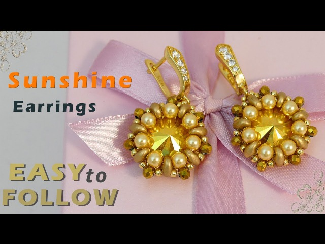 Handmade jewelry- beaded earrings with 14 mm rivolis