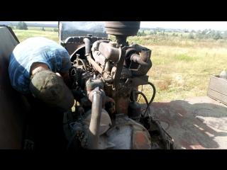 Заводим двигатель СМД 18 комбайна Нива СК-5