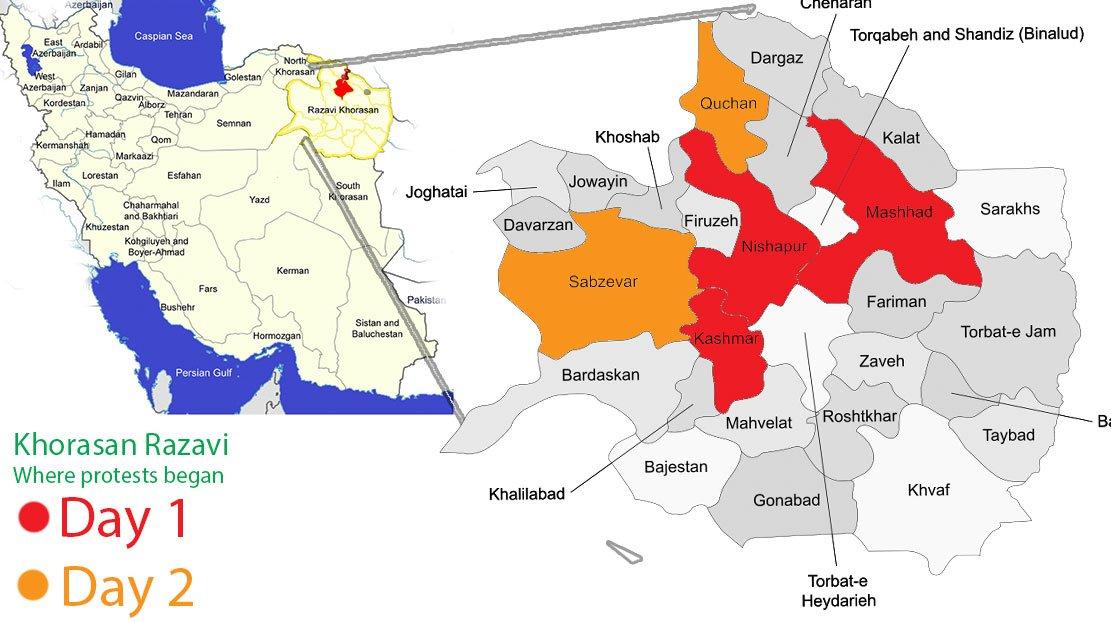 На карте показано, где начались протесты 28 декабря. Они охватили 5 городов в провинции Разави Хорасан 28-29 декабря. Эта провинция является родным городом Раиси, политическим соперником действующего президента Роухани.