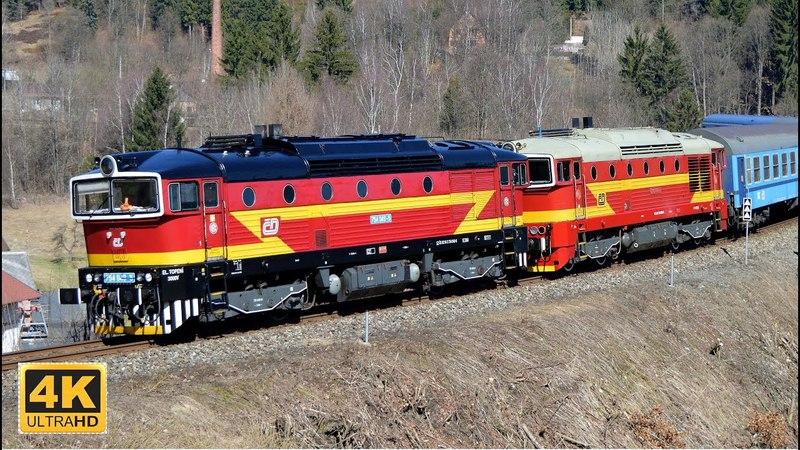 Nasazení lokomotiv 750.308 a 754.049 na R 1148/1149 7.4.2018 (4K)