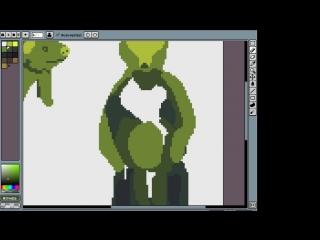 рисуем пиксельного зеленого медведя
