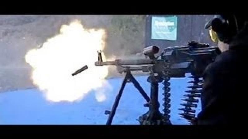 PKM belt fed machine gun in super slow motion, 600 frames/sec