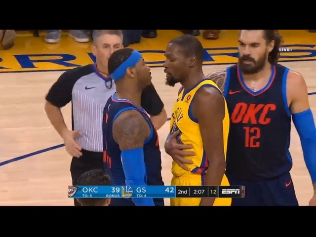 Kevin Durant Carmelo Anthony Skirmish / GS Warriors vs Thunder