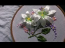 Hand embroidery designs. How to make Ribbon embroidery flowers .