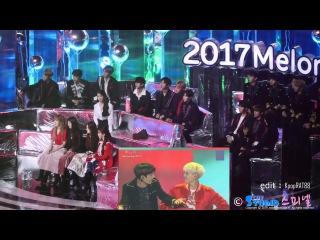 171202 IU(아이유) Wanna One , Red Velvet , JBJ reaction to BTS(방탄소년단) - DNA @MMA