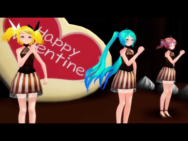 MMD Chocolate Disco San Valentine miku , teto , rin
