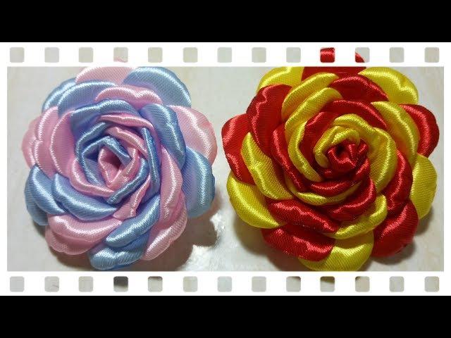 64) Tutorial roseburn 2 colors   Tutorial mawar bakar 2 warna bahan pita    Ribbon flower (VOD-04)