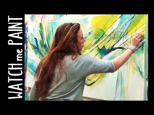 Abstract large acrylic painting demo - speedpainting - timelapse - by zacher-finet