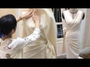 Draping sculptured dress with radiating pleats