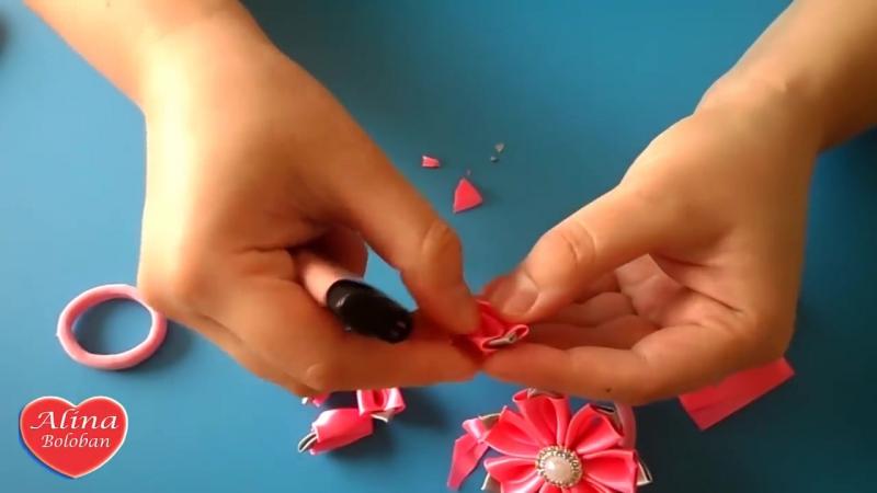 Симпатичные Резиночки Канзаши для маленькой Принцессы _ Cute scrunchy kanzashi D