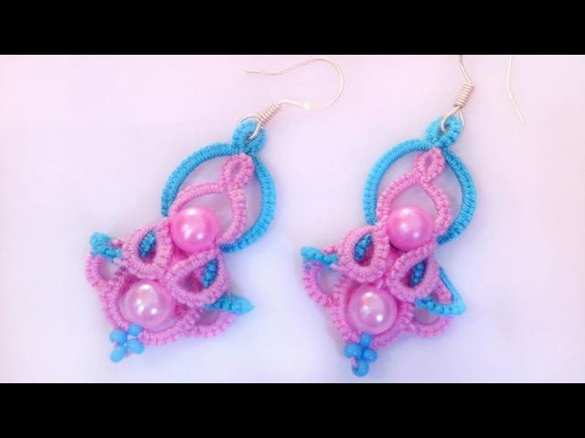 Двухцветные серьги фриволите иглой, анкарс, мк для начинающих. DIY earrings frivolite with a ne...