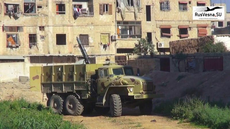 Мощнейший взрыв Как русский Змей Горыныч сжигает боевиков вДамаске Yarmouk SAA fight