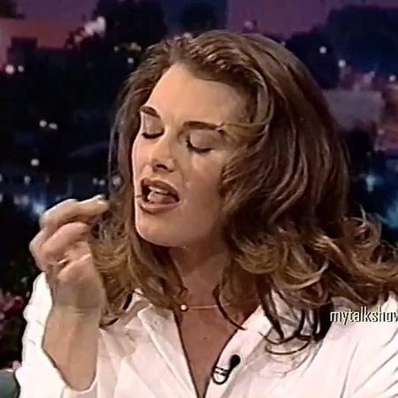 Brooke Shields ties a cherry knot on Jay Leno, 1995