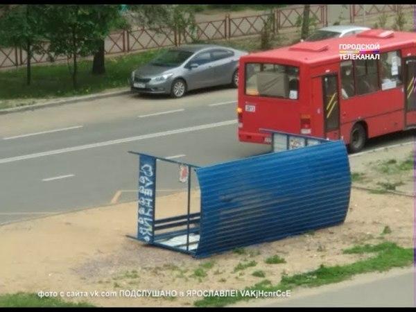 В Ярославле ветер повалил деревья и снес остановки