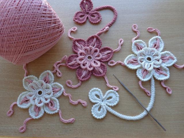 Уроки вязания - Цветок крючком - Ирландское кружево - Flower for Irish lace - How to crochet flower