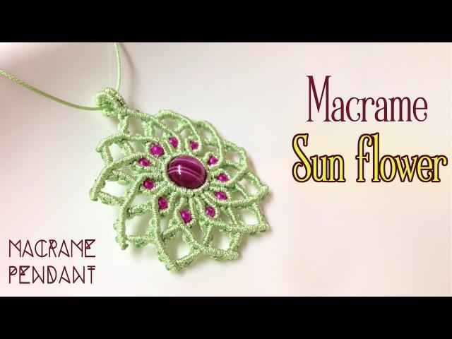 Macrame pendant tutorial The sun flower - Simple macrame idea craft