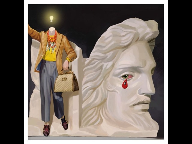 Gucci в Instagram: «Enriched with beads and crystals, metallic leather accents adorn men's sweaters worn with a velvet formal jacket and a GucciNe...