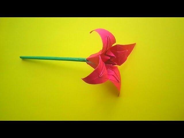 ОРИГАМИ ЦВЕТОК ЛИЛИЯ ИЗ БУМАГИ ORIGAMI PAPER FLOWER CRAFTS LILY