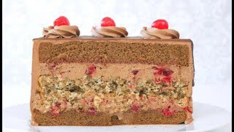 Шоколадный торт с вишнями и грильяжем Моцарт и Сальери