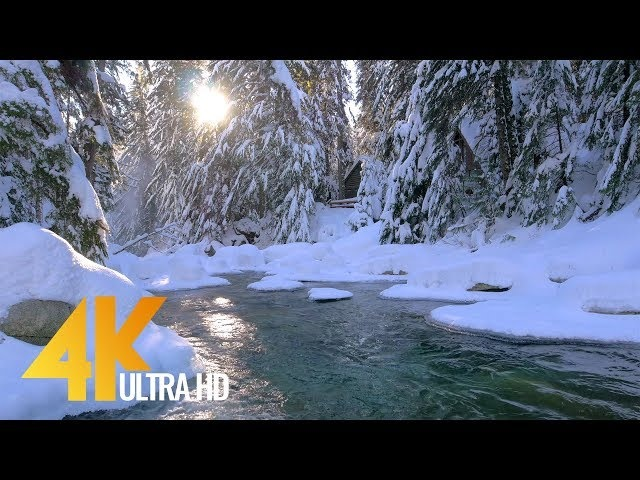 2.5 HRS - Winter Waterfall in 4K | Ambient Music River Sounds - Franklin Falls - Snoqualmie WA