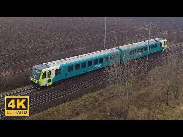 Vlaky mezi stanicemi Poříčany - Pečky 27.1.2018 (4K)