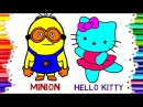 TEACHING CHILDREN TO DRAW MINION VS HELLO KITTY COLORING PAGES | LEARN COLOR, DRAWING FOR KIDS 73