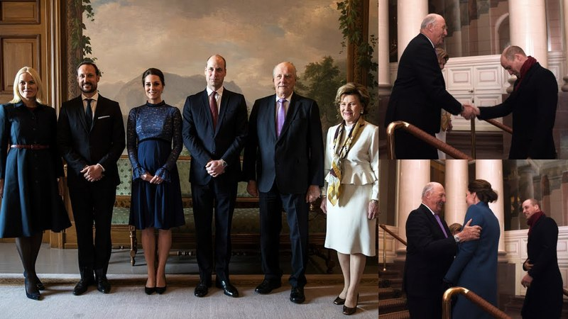 King Harald and Queen Sonja receive the Duke and Duchess of Cambridge in Oslo