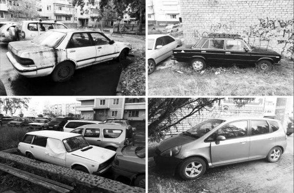 Брошенные автомобили на улицах Усть-Илимска