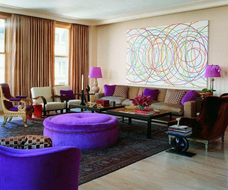 Яркий позитивный интерьер для гостиной